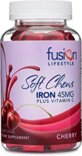 Fusion Lifestyle Iron Supplement for Women and Men, Cherry Flavored Iron Soft Chew Plus Vitamin C for Iron Deficiency and ...