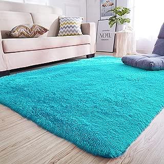 Junovo Rectangle Ultra Soft Area Rugs Fluffy Carpets for Bedroom Living Room Shaggy Floor Rug Home Decor Mats, 4 x 5.3ft, Blue