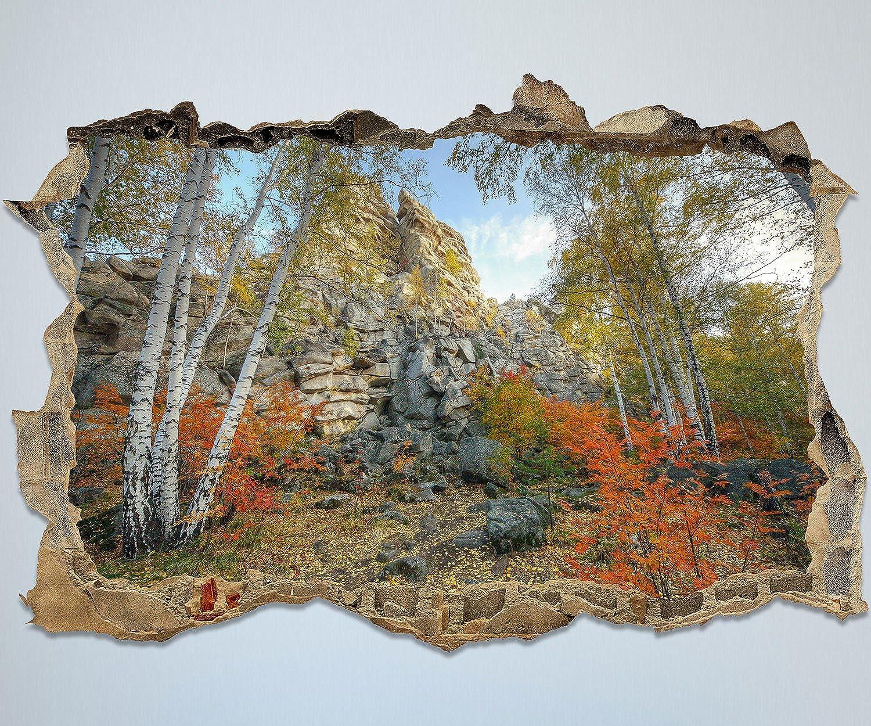 Wandmotiv24 3D-Wandsticker Herbst Birkenbaum Birkenbaum Birkenbaum Wald Aufkleber Wandbild Mauerdurchbruch   Design 01   extra groß B075V7JRWB cf21d6