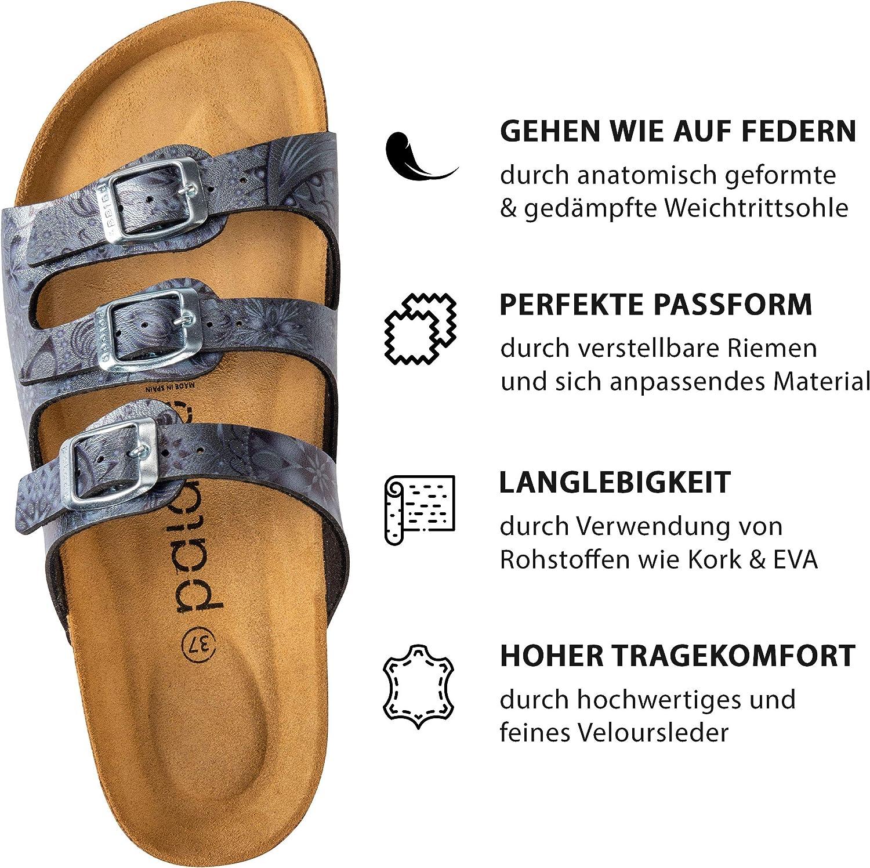 Made in EU Pantoletten mit Natur Kork-Fussbett und angenehm weichem Fu/ßbett Palado/® Damen Sandale Capri Sandalen in 6 Farben Sohle aus feinem Velourleder
