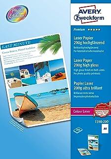 Avery España 1398-200 - Pack de 200 folios de papel fotográfico para impresoras láser 210 x 297 mm color blanco