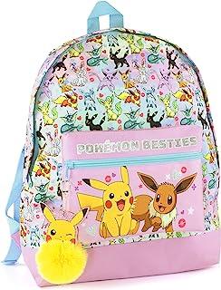 Pokemon Backpack Girls Pikachu Eevee Besties Kids Pink Glitter School Bag One Size