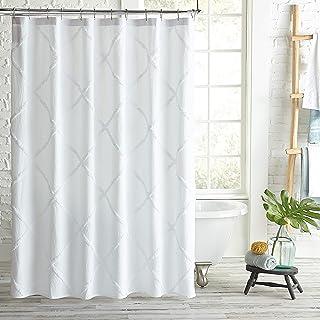 Peri Home Lattice Chenille Cotton Fabric Shower Curtain, 72-Inch Wide x 72-Inch Long, White