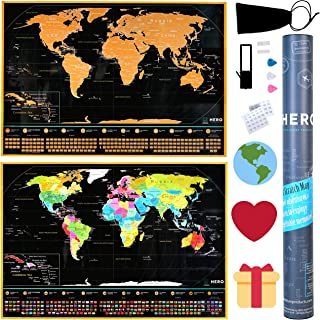 Deluxe Scratch Off Map Of The World - Extra Large, 35% Bigger Than Other Maps - Amazing Detail, Premium Quality Paper & Ea...