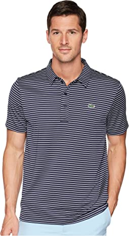 Short Sleeve Jersey Raye w/ Fine Stripes & Button Front Placket