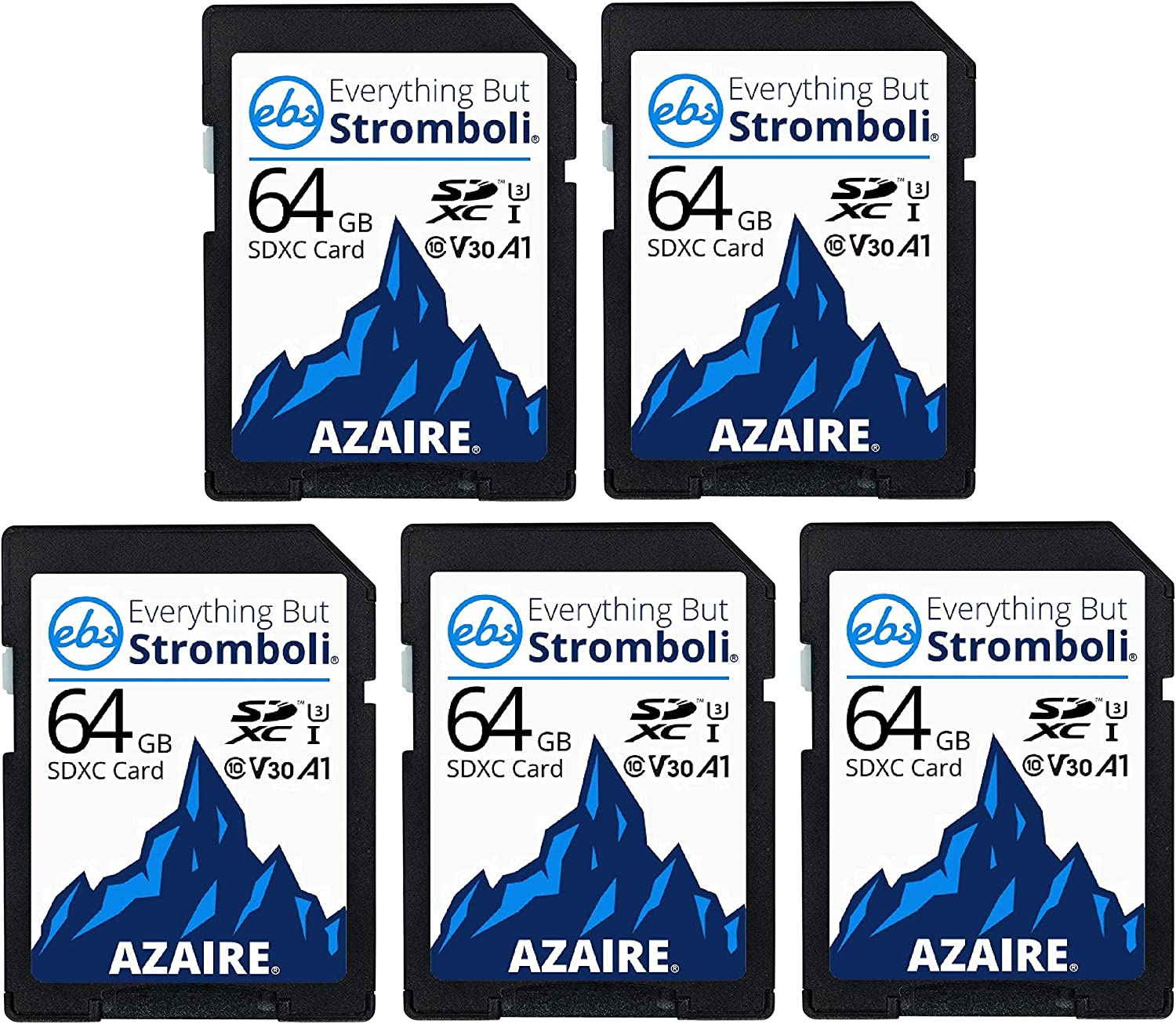 Everything But Stromboli 64GB SD Card (5 Pack) Speed Class 10 UHS-1 U3 V30 64G SDXC Memory Cards Multipack for Compatible Camera, Laptop, Video Cam