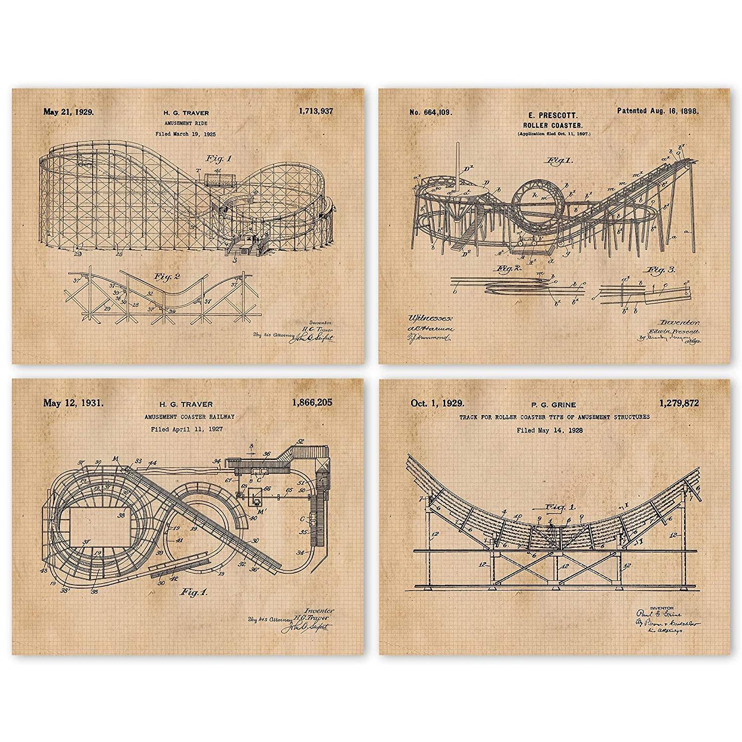 Vintage Roller Coaster Patent Art Year-end gift Poster 8x10 of Set 4 Prints Oklahoma City Mall