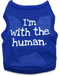DroolingDog Pet Dog Clothes I'm with The Human Tank Top Vest for Small Dogs