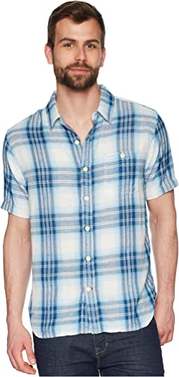 Surf Checks Double Light Gauze Stitch Detail and Vintage Washed Short Sleeve One-Pocket Shirt