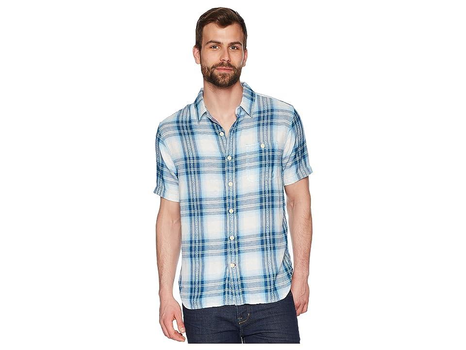 True Grit Surf Checks Double Light Gauze Stitch Detail and Vintage Washed Short Sleeve One-Pocket Shirt (Blue) Men