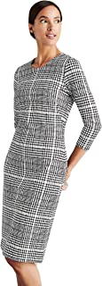 J.McLaughlin Womens Devon Dress in Checkington, 3/4 Sleeve Hidden Back Zipper Black Cream Color