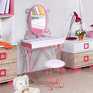 Furniture of America Princess Fantasy 2-Piece Vanity with Stool Set