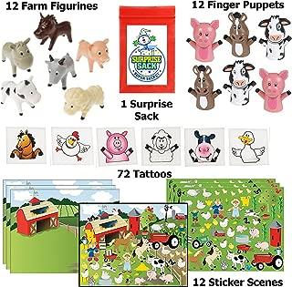 Super Secret Surprise Sack Farm Party Favor Pack - 108pc (12 Farm Sticker Scenes, 12 Farm Animal Figurines, 12 Farm Finger Puppets & 72 Barnyard Tattoos)