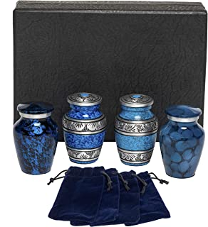 Eternal Harmony Keepsake Urns for Human Ashes   4 Cremation Urns Carefully Handcrafted with Elegant Finishes to Honor Your Loved One   Each Small Urn Comes in a Beautiful Velvet Bag (Navy)