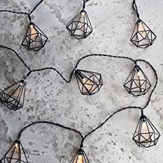 10 Black Diamond Cage Battery Operated Indoor LED String Lights