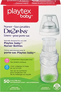 Playtex Baby Nurser Drop-Ins Liners, Pre-Sterilized, Recyclable Disposable Liners for Nurser Bottles, 4 Ounce Liners, 50 Count