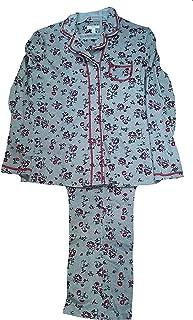 Light Heather Gray Floral 2 Piece Notch Collar Long Sleeve Pajama Sleep Set