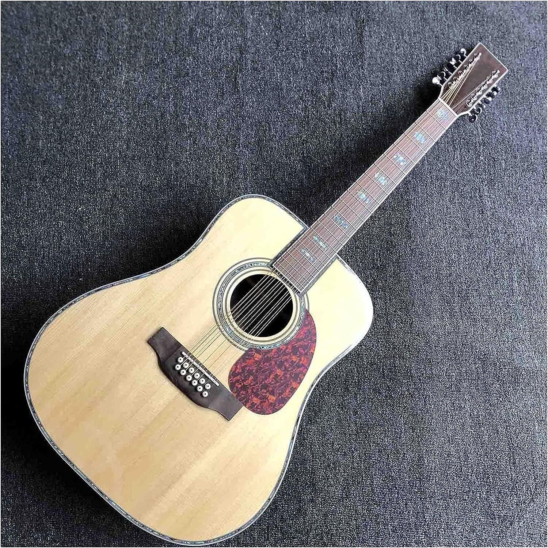 YYYSHOPP Guitarra 12 Cuerdas 45s Spruce Silg Top Style D Cuerpo De Guitarra Acústica con EQ Electrónica (Size : 41 Inches)
