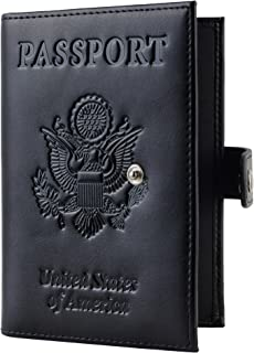 Travelambo RFID Blocking Genuine Leather Passport Holder Wallet Cover(with strap black)