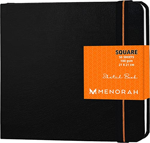MENORAH - Artist Sketchbook - Square -180gsm - Drawing Sketch Book - 100 Pages/50 Sheets - Hard Bound Drawing Book - ...