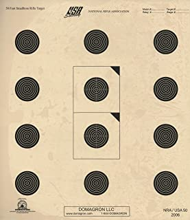 DOMAGRON 50 Foot Small Bore Official NRA Target USA NRA 50 (Package of 100)