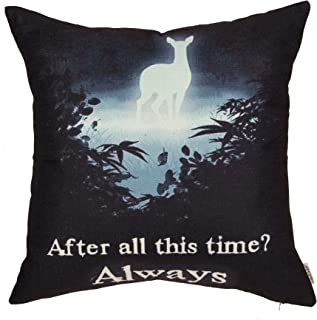 Fjfz After All This Time Always Deer Motivational Sign Inspirational Quote Cotton Linen Home Decorative Throw Pillow Case Cushion Cover for Sofa Couch, Black,18