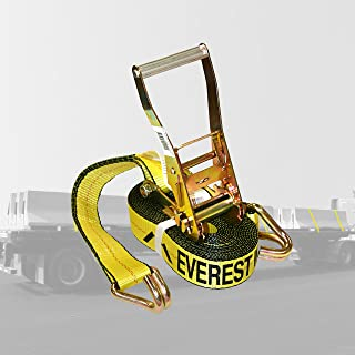 Everest Premium Ratchet Tie Down – 1 PK – 2 IN – 27 FT – 3333 LBS Working Load – 10000 LBS Break Strength – Double J Hook ...