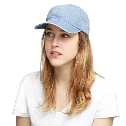 88b8283d THE HAT DEPOT Unisex Blank Washed Low Profile Cotton and Denim Baseball Cap  Hat