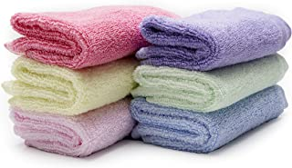 Luv Your Baby 100% Organic Bamboo Washcloths, Soft & Absorbent Baby Bath Towels Set for Sensitive Skin & Face, 6-Pack