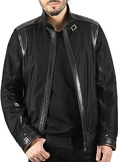 Racer Men's Designer Jacket Black Real Leather Trimming + Net Summer Jacket W-117