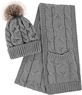 Women Winter Warm Braided Cable Knit Beanie Scarf Set