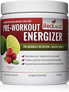 Red Leaf Pre-Workout Energizer Powder, BCAA's, Beta-Alanine, Amino Acids and Green..