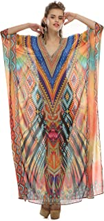 Women's Kaftan Beachwear Bikini Cover-ups Vintage Bohemian Summer Dress (Long)