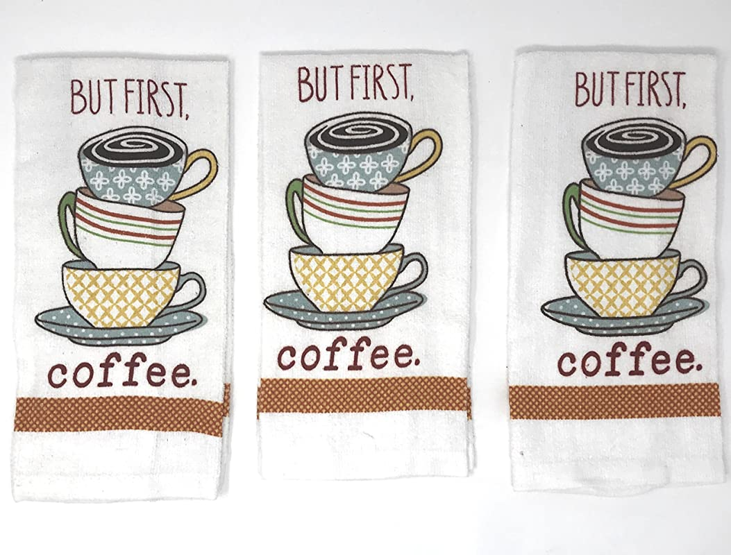 Nidico Home Concepts 15 X 25 Kitchen Towels Bundle Of 3 But First Coffee