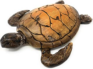 Globe Imports Loggerhead Sea Turtle Resin Statue with Faux Carved Driftwood Shell, Indoor Outdoor Decor, 11 Inches Long