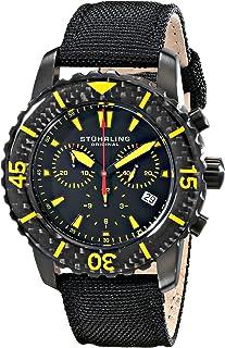 Stuhrling Original Men's 3267.02 Aquadiver Swiss Quartz Chronograph Date Black Watch