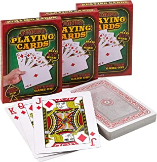 Giant 5 x 7 Inch Playing Cards - (Pack of 3 Decks) Full Big Decks of Jumbo Poker Index Playing Card Set, Each Deck is Perf...