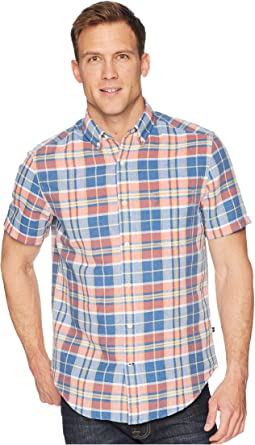 Short Sleeve Linen Plaid Shirt