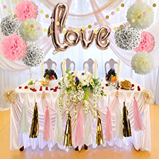 Bridal Shower Decorations Love Balloons Rose Gold Tissue Paper Pom Poms Flowers Tassel Paper Garland Pink and Gold Party Supplies Kit