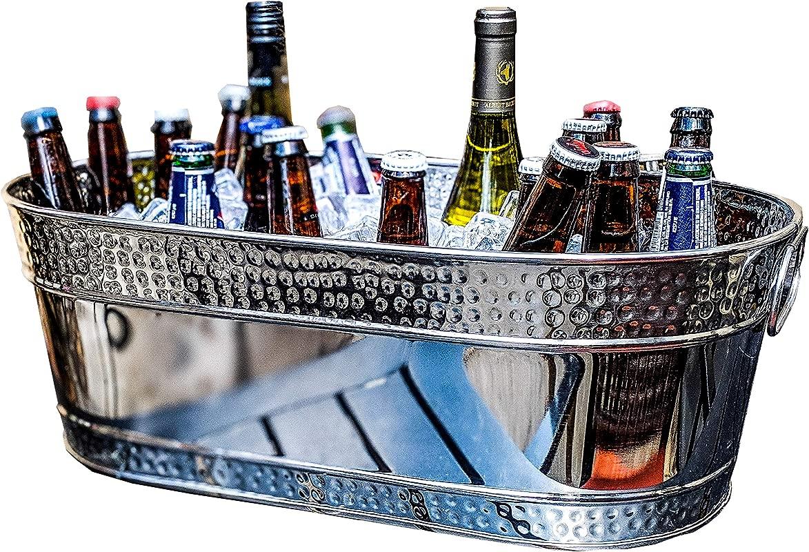 BREKX Colt Hammered Stainless Steel Silver Party Beverage Tub Wine Bucket 17 Quarts
