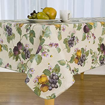 Amazon Com Elrene Home Fashions Fresco Fruit Stain Resistant And Spill Proof With Flannel Backing Vinyl Tablecloth For Spring Summer Party Picnic 60 X144 Oblong Rectangle Jewel Home Kitchen