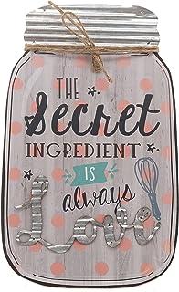Barnyard Designs The Secret Ingredient is Always Love Mason Jar Wall Decor Sign, Vintage..