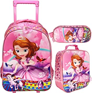 3D Sofia School Trolley Bag With Backpack For Kids Girl Include Lunch bag And pencil Case (18 INCH = 45.7 CM, SOFIA 1)
