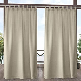 Exclusive Home Curtains Biscayne Indoor/Outdoor Two Tone Textured Tab Top Curtain Panels, 54x96, Natural