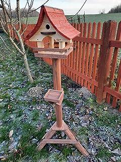 Mangeoire à oiseaux avec nichoir et support en bois, mangeoire pour oiseaux sauvages, mangeoire à poser pour le jardin ou ...