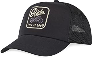 Life is good Mesh Back Chill Ride on Hat, Patch Night black