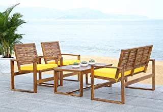 Safavieh Home Collection Hailey Outdoor Living 4-Piece Acacia Patio Furniture Set, Brown and Yellow