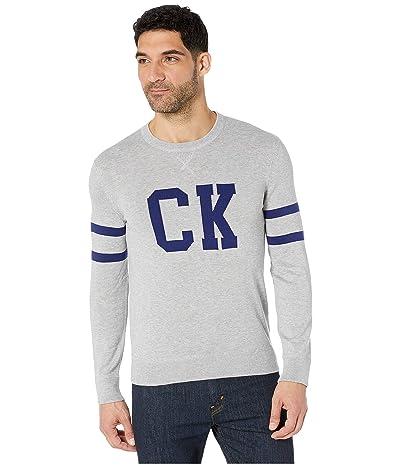 Calvin Klein Supima CK Logo Crew (Heoric Grey Heather) Men