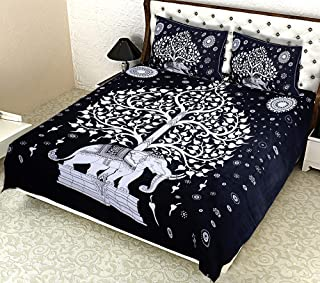 """BedZone 100 % Pure Cotton Jaipuri Rajasthani Traditional Double Bedsheet with 2 Pillow Covers - Double (90""""x100"""") - Black"""