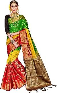 ELINA FASHION Sarees for Women Banarasi Art Silk Woven Work Saree l Indian Wedding Ethnic Sari & Blouse Piece